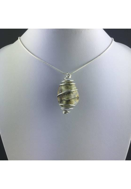 Ocean JASPER Orbicolar Pendant Tumble Stone - LEO GEMINI PISCES Zodiac Silver A+-8
