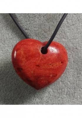 Pendant HEART in Red Madrepore Mother of Pore Coral MINERALS Crystal Healing Gift Idea-2