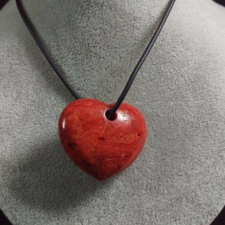Pendant HEART in Red Madrepore Mother of Pore Coral MINERALS Crystal Healing Gift Idea−3