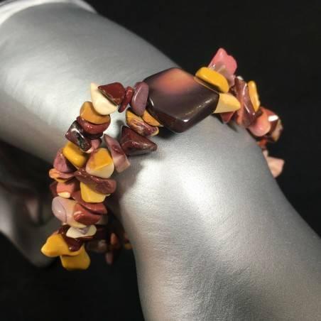 Mookaite Jasper Bracelet Natural Gemstone Chips - LEO GEMINI PISCES Zodiac-1