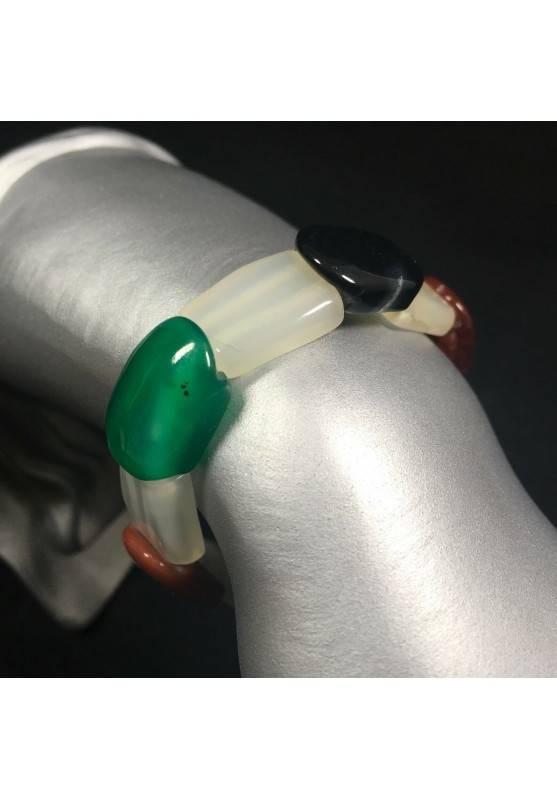 Mixed AGATE Bracelet MINERALS Crystal Healing Chakra Reiki A+-1