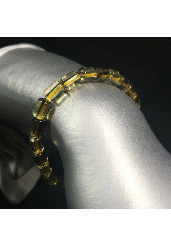 Bracelet in SMOKED CITRINE QUARTZ Rare Elasticated Crystal Healing A+-1