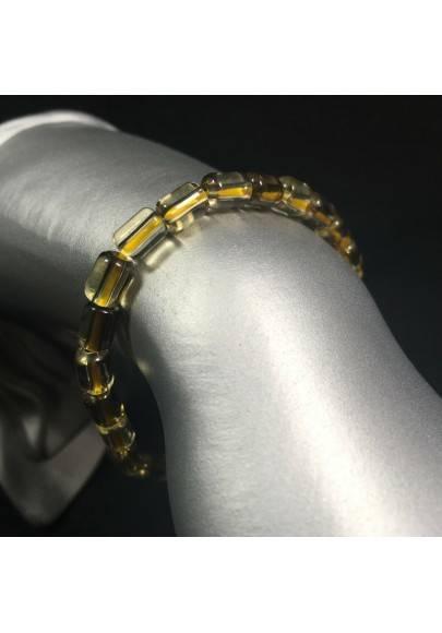 Bracelet in SMOKED CITRINE QUARTZ Rare Elasticated Crystal Healing A+-1