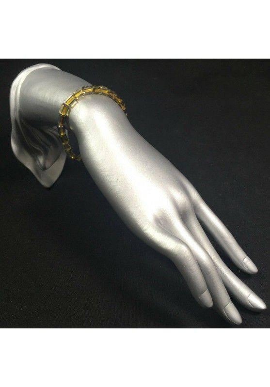 Bracelet in SMOKED CITRINE QUARTZ Rare Elasticated Crystal Healing A+-2