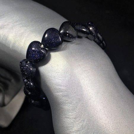 Bracelet in Blue SUN STONE Hearts - Tumbled Stones Zodiac: LEO SCORPIO A+-1