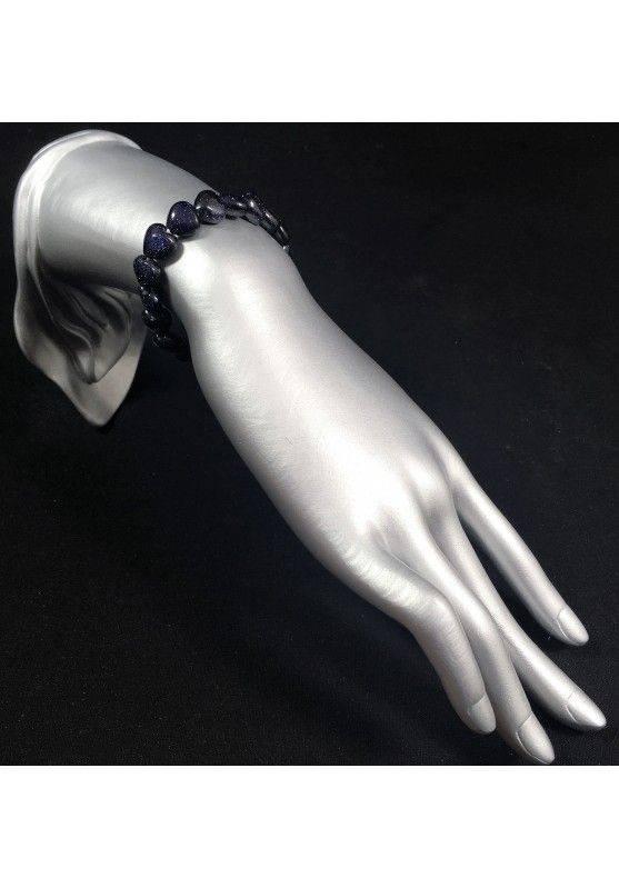 Bracelet in Blue SUN STONE Hearts - Tumbled Stones Zodiac: LEO SCORPIO A+-2