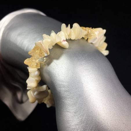 Bracelet Mother of Pearl and CALCITE Chips Crystal Healing Chakra A+-1