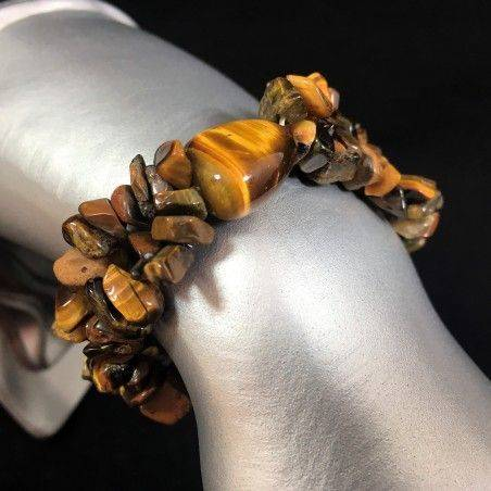Tiger's eye Chips Tumbled Elasticated Bracelet Minerals Beads Gift Idea Zen-1