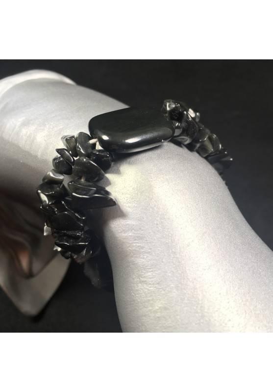 Bracciale Scaglie di ONICE NERO Braccialetto Cristalloterapia Chakra Reiki A+-1
