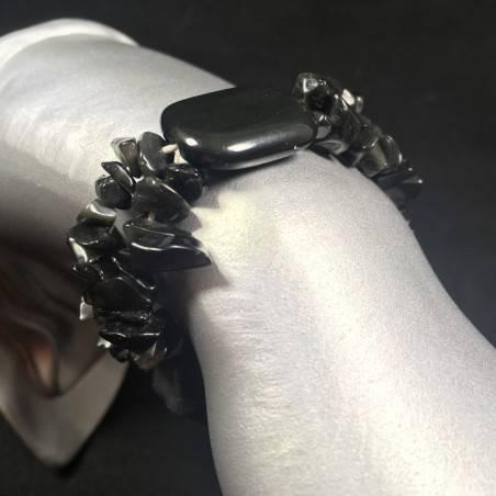 BLACK ONIX Chips Bracelet Tumblestone Crystal Healing Chakra Reiki A+-1