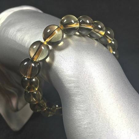 Smoked QUARTZ Spherical Beads Bracelet Color Crystal Healing Chakra Zen-1