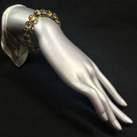 Smoked QUARTZ Spherical Beads Bracelet Color Crystal Healing Chakra Zen-2
