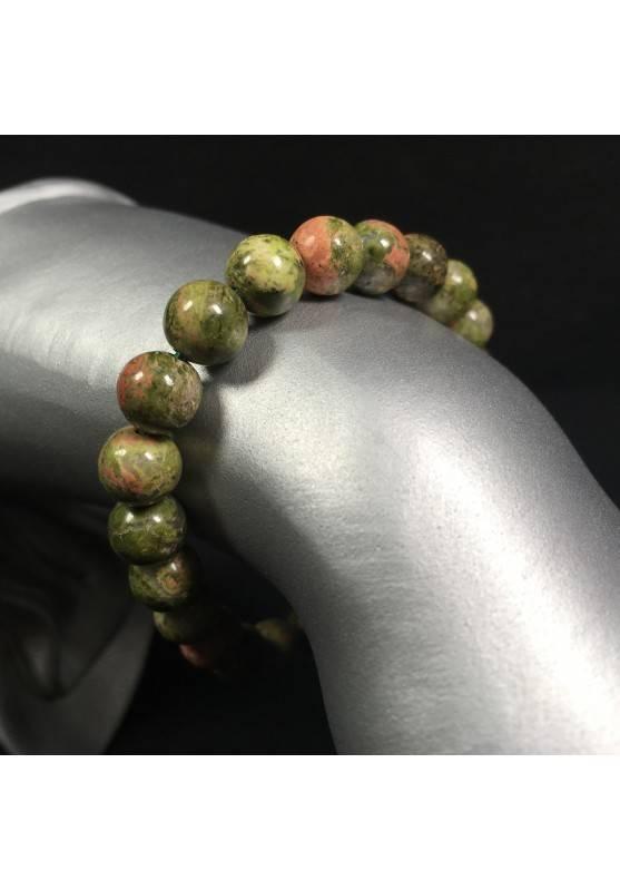 UNAKITE JASPER Tibetan Mala Bracelet Crystal Healing Elasticated Zen A+-1