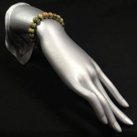 UNAKITE JASPER Tibetan Mala Bracelet Crystal Healing Elasticated Zen A+-2