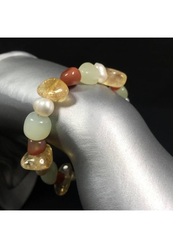 Bracelet in CITRINE QUARTZ CARNELIAN JADE & PEARL Crystal Healing Chakra A+-1