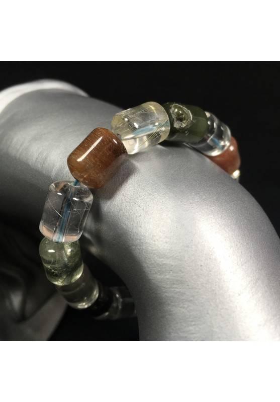 Bracciale QUARZO RUTILATO LODOLITE CORNIOLA Minerali Cristalloterapia Reiki A+-1