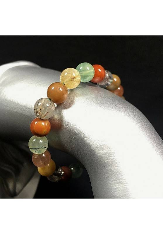 Bracelet in RUTILADED QUARTZ CARNELIAN & LODOLITE Quartz Mix Stone Crystal Healing Reiki-2