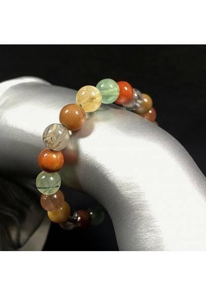 Bracelet in RUTILADED QUARTZ CARNELIAN & LODOLITE Quartz Mix Stone Crystal Healing Reiki-2