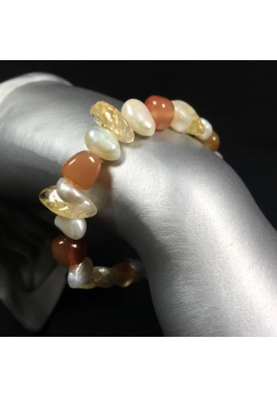 Bracelet in CITRINE QUARTZ CARNELIAN & PEARL MINERALS Crystal Healing Chakra Reiki-1