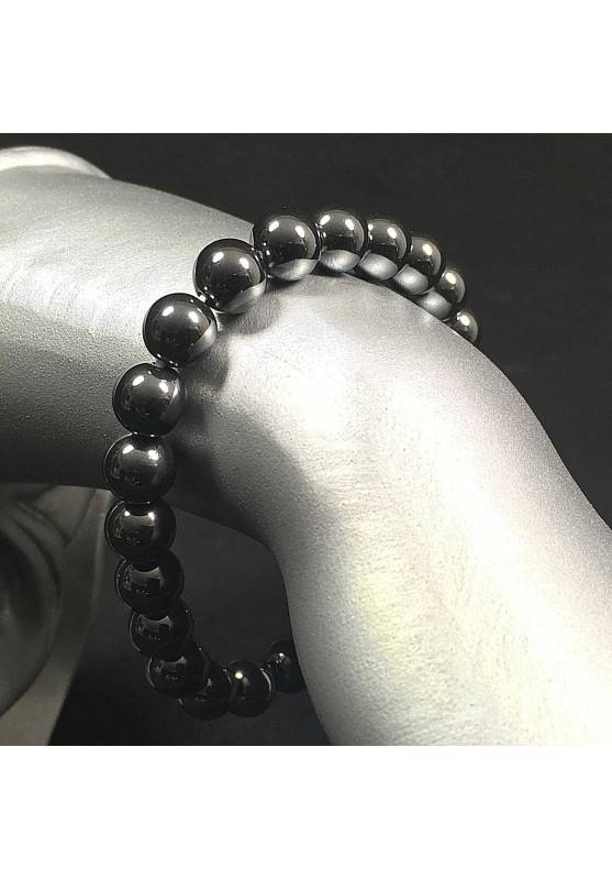 Hematite Spherical Beads Bracelet 9mm Sphere Unisex Jewels MINERALS Crystals-1