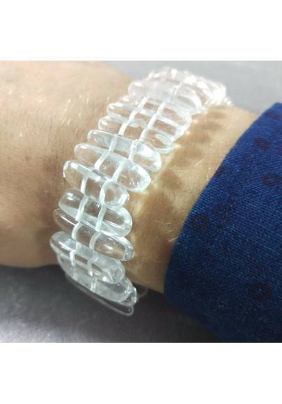 HYALINE Quartz Clear Bracelet UNISEX MINERALS Chakra Rock CRYSTAL Beads-1