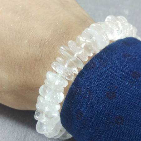 Hyaline Quartz Clear Chips Bracelet UNISEX MINERALS Chakra Pietre-1