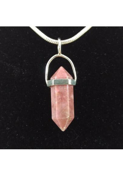 LEPIDOLITE Double Terminated Pendant Sterling Silver 925 - CAPRICORN SAGITTARIUS Necklace A+-1