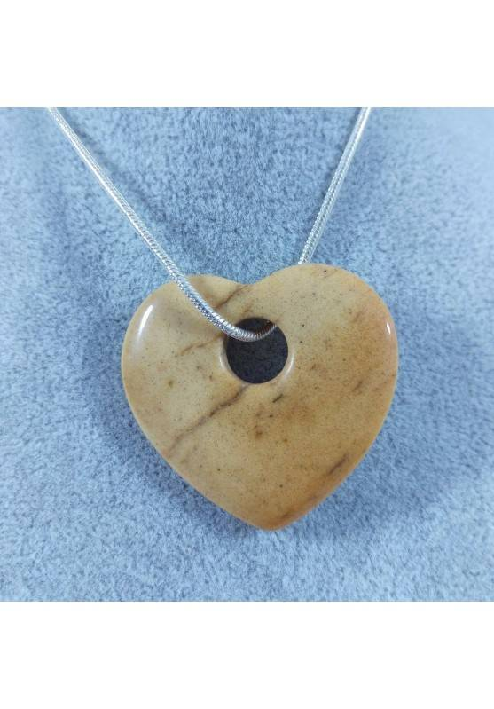 Necklace Heart in Picture Jasper HEART Pendant Rare Crystal Gift Idea Crystals-1