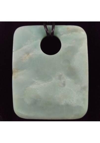 Ciondolo Gemma di Giada Azzurra GRANDE Collana Charms Etnico Cristalloterapia-1