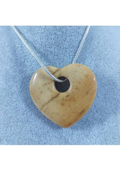 Picture Jasper Pendant HEART - GEMINI PISCES LEO MINERALS Crystal Healing-1