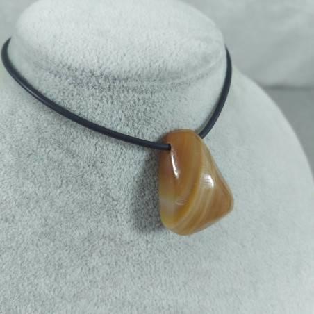 Pendant Bead in CARNELIAN AGATE Striata Necklace Crystal Healing Chakra Reiki-1