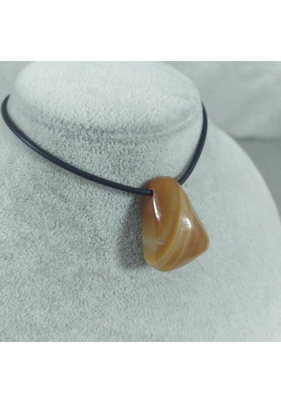 Banded Carnelian Agate Bead -TAURUS CANCER LEO Necklace MINERALS Charm Pendant-1