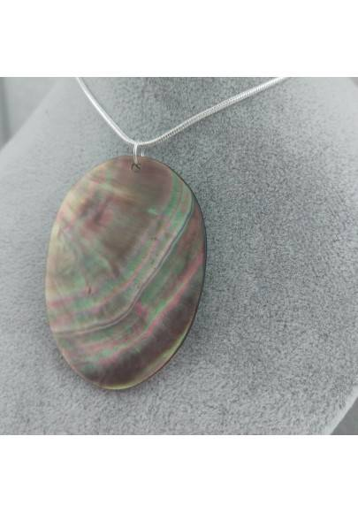 Classic Oval Pendant in Mother of Pearl SILVER Plated Necklace Jewel Chain Stone-1