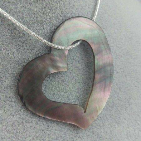 Grey Mother of PEARL Pendant Necklace Jewel Chain Heart Love Gift Idea-1