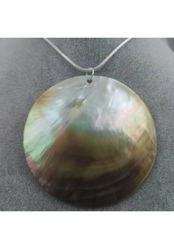 Pendant Moon in Mother of Pearl SILVER Plated Necklace Jewel Charm Chakra Minerals-1