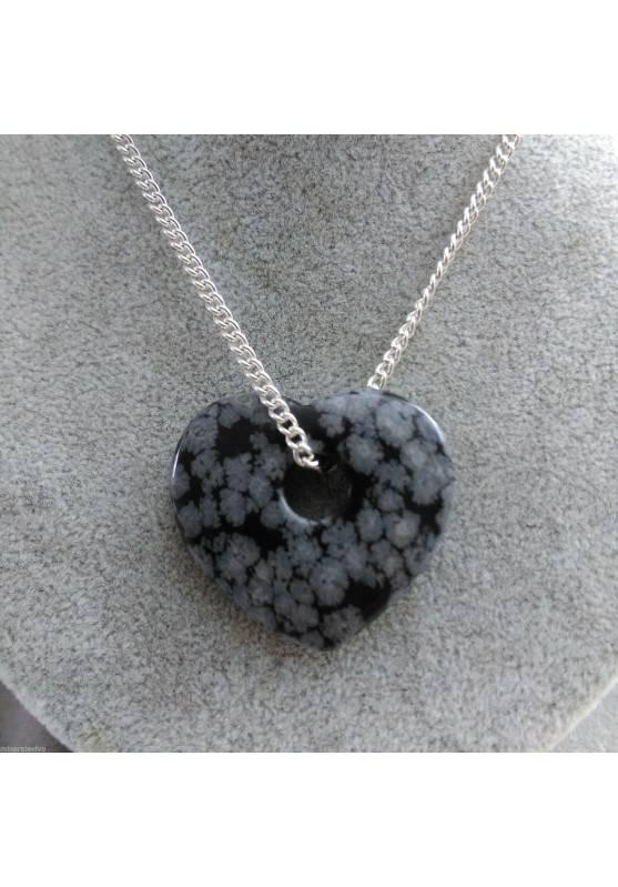 Snow Obsidian Pendant HEART - VIRGO TAURUS Crystal Healing MINERALS-1