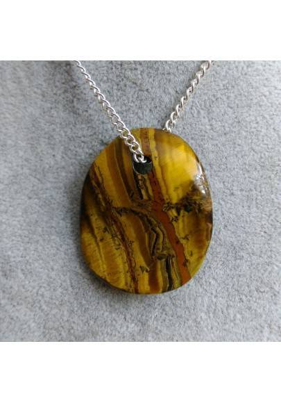 Tiger's EYE Pendant Leaf LEO SCORPIO CAPRICORN Charm Necklace Zen-1