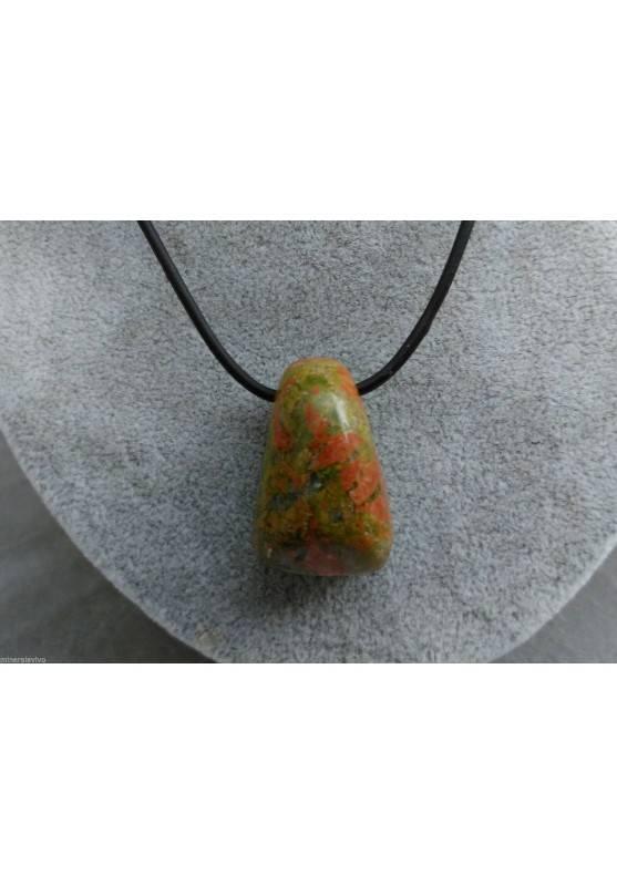 UNAKITE Jasper Pendant Bead - SCORPIO Pendant Necklace MINERALS Crystals-1