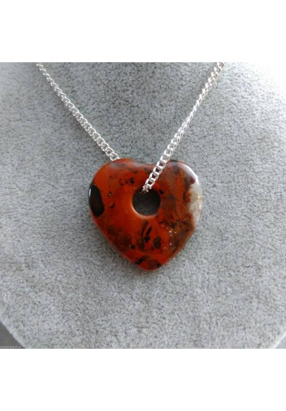 Necklace Heart in RED Jasper Pendant Rare HEART Crystal Gift Idea SAN VALENTINE-1