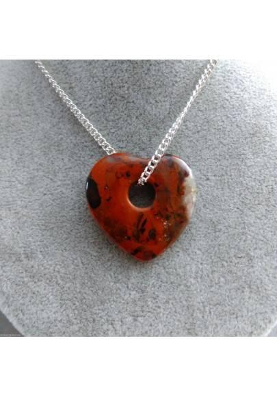 Necklace Heart in RED Jasper Pendant Rare HEART Crystal Gift Idea SAN VALENTINE-1