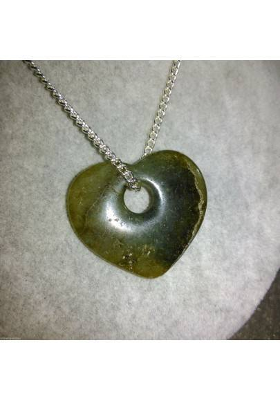Necklace Heart in LABRADORITE HEART Pendant Rare Crystal Gift Idea VALENTINE'S DAY-1