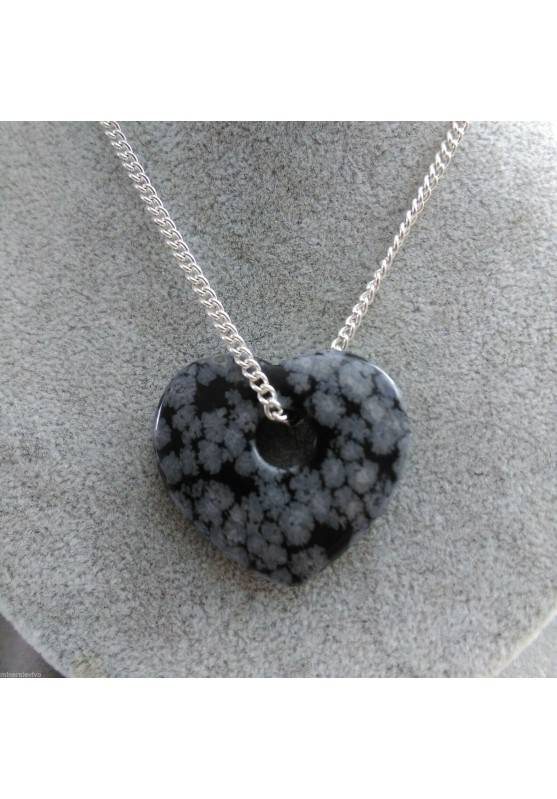 Necklace Heart in Snow Obsidian HEART Pendant Gift Idea VALENTINE'S DAY-1