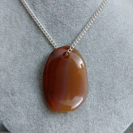 Leaf in CARNELIAN Pendant Necklace Crystal Healing Reiki 2° Chakra Feng Shui-1