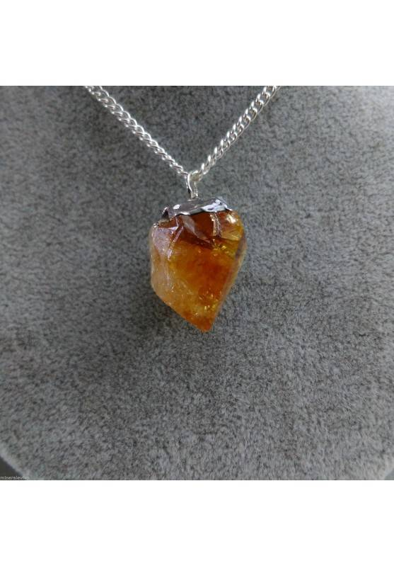 Pendant Point in CITRINE Quartz Gemstone Necklace Crystal Healing Chakra Gift Idea A+-1