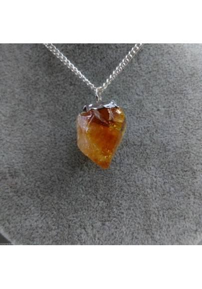 Pendant Point in CITRINE Quartz Gemstone Necklace Crystal Healing Chakra Gift Idea A+-1