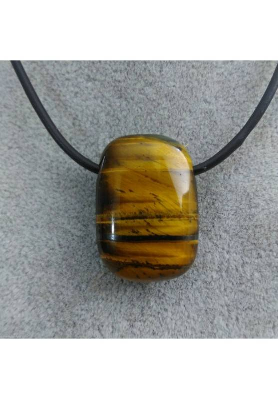 Pendant Gemstone in Tiger's Eye Tumbled 3° Chakra Jewel Gift Idea Feng Shui-1