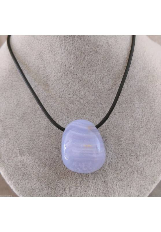 "Pendant "" BLUE CHALCEDONY Beads "" Necklace Tumbled Crystal Healing Chakra-1"
