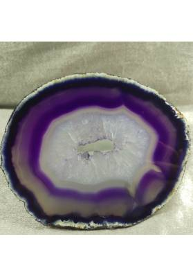 MINERALS *  GORGEOUS AGATE SLICE Purple With Crystals of Brazilian AMETHYST-4