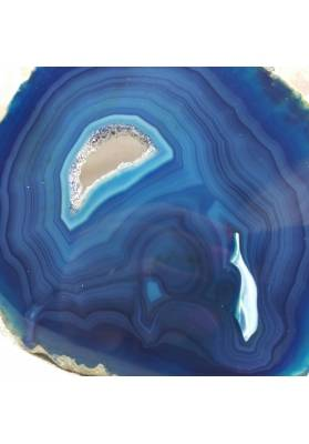 MINERALS *  GORGEOUS Blue AGATE SLICE With Crystals of Brazilian AMETHYST-2
