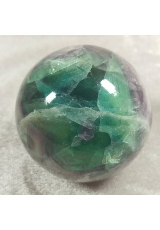 Sfera GRANDE di Fluorite Mista Verde Viola Cristallo Minerali Palla Pietra RARA-2